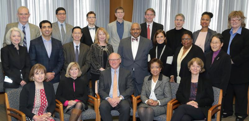 The current Council of Councils members are: (back row from l) Terry Magnuson, Jorge L. Contreras, *Scout, John Postlethwait, *R. Paul Johnson, Jonathon Epstein, Nsedu Obot Witherspoon, Sharon Anderson; (middle row from l) Terry Jernigan, *Sachin Kheterpal, *Jian-Dong Li, Kimberly Leslie, *Charles Mouton, *Maria Acebal, *Cynthia Barnes-Boyd, Gail Yokote; (front row from l) J. Leslie Winston, Melissa Brown, DPCPSI Director James Anderson, *Edith Mitchell, *Patricia Hurn (*New members.)