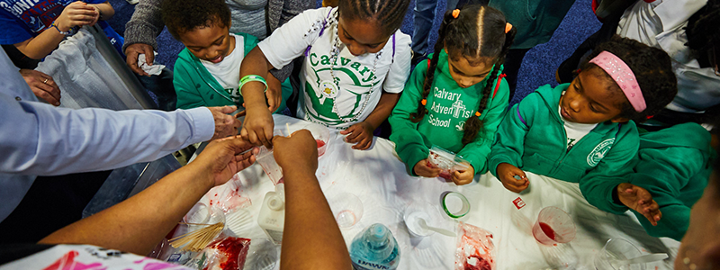 Students excitedly smash up strawberries as they prepare them for DNA extraction. (National Human Genome Research Institute)