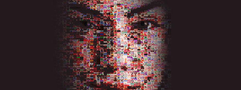 Collage of images making up the face of a woman
