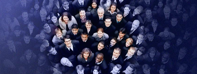 Group of people from above