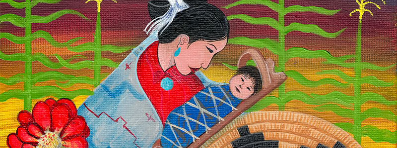 Painting of a Navajo woman holding her child in a corn field